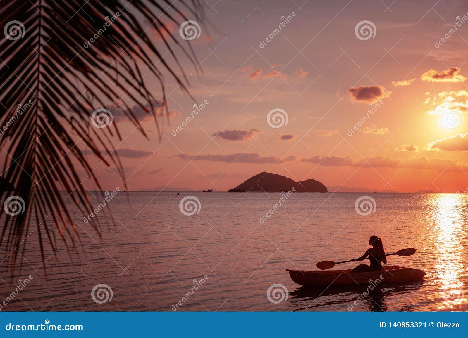 Girl On Kayak Sea At Sunset, Healthy Lifestyle Design  Sport