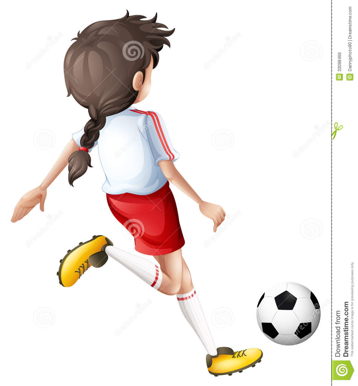 ... Girl Kicking A Soccer Ball Royalty Free Stock Image - Image: 33098466