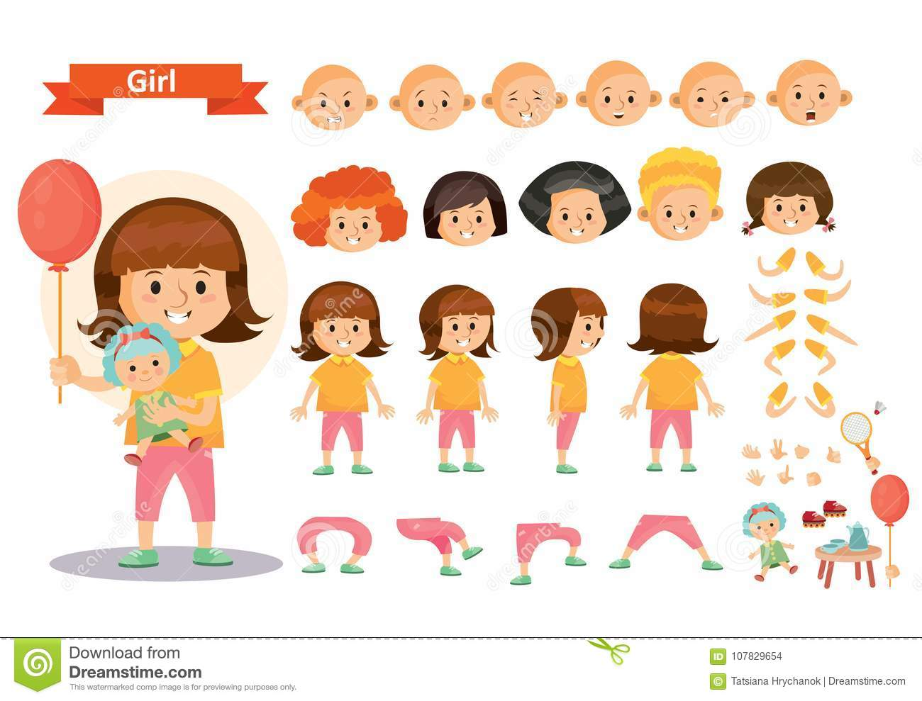 Girl Kid Playing Games And Toys Vector Cartoon Child Character