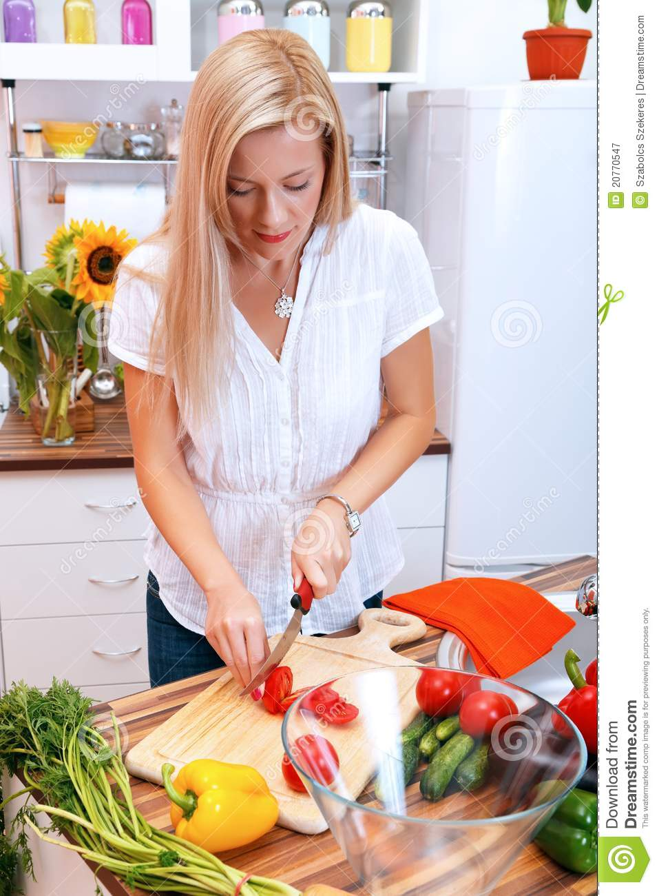 Girl in the kitchen stock image. Image of wife, pretty - 20770547