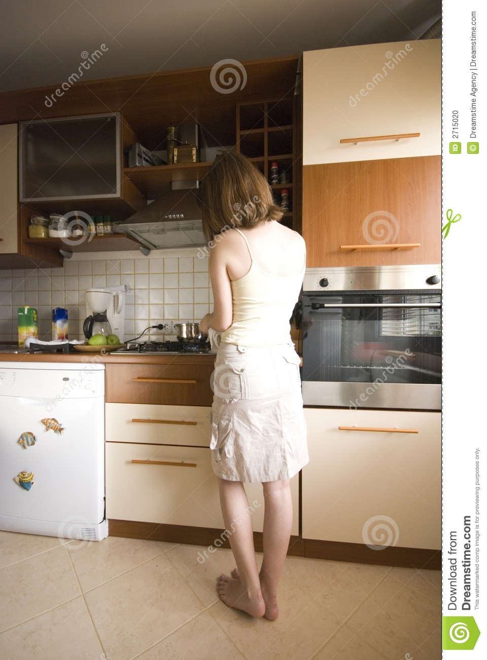 Girl in the kitchen stock photo. Image of pretty, woman - 2715020