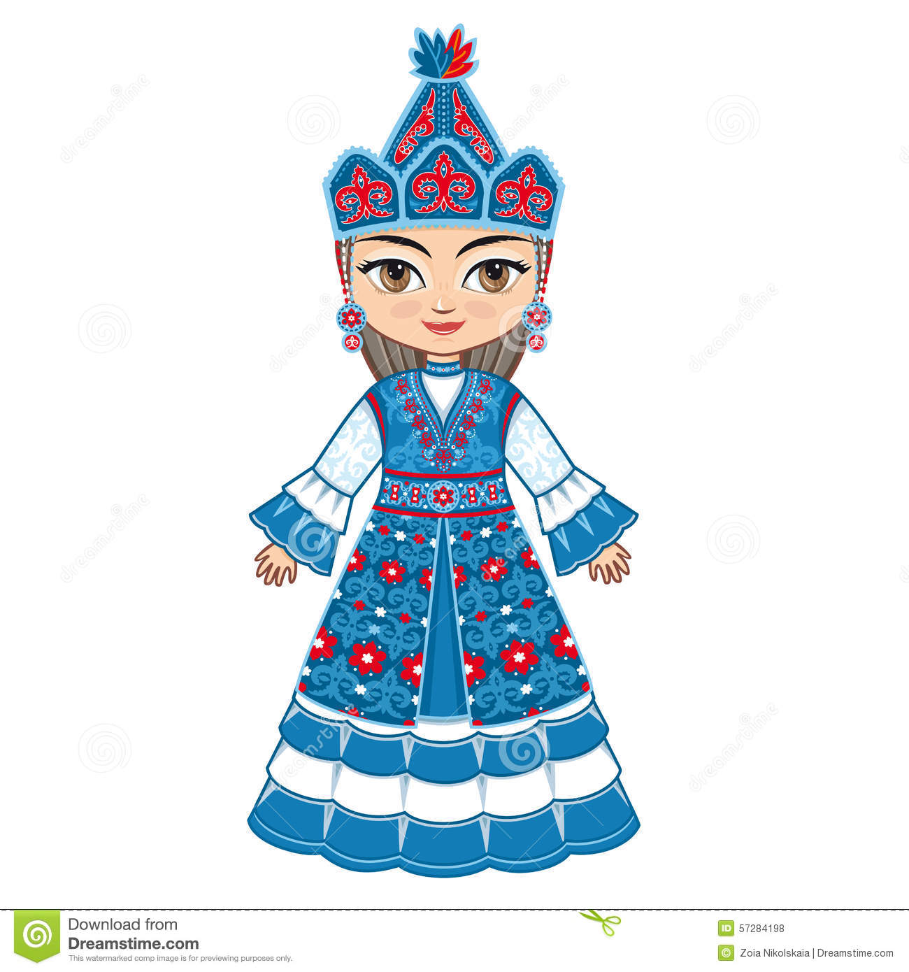 The Girl In Kyrgyz Dress. Historical Clothes. Stock Illustration ...