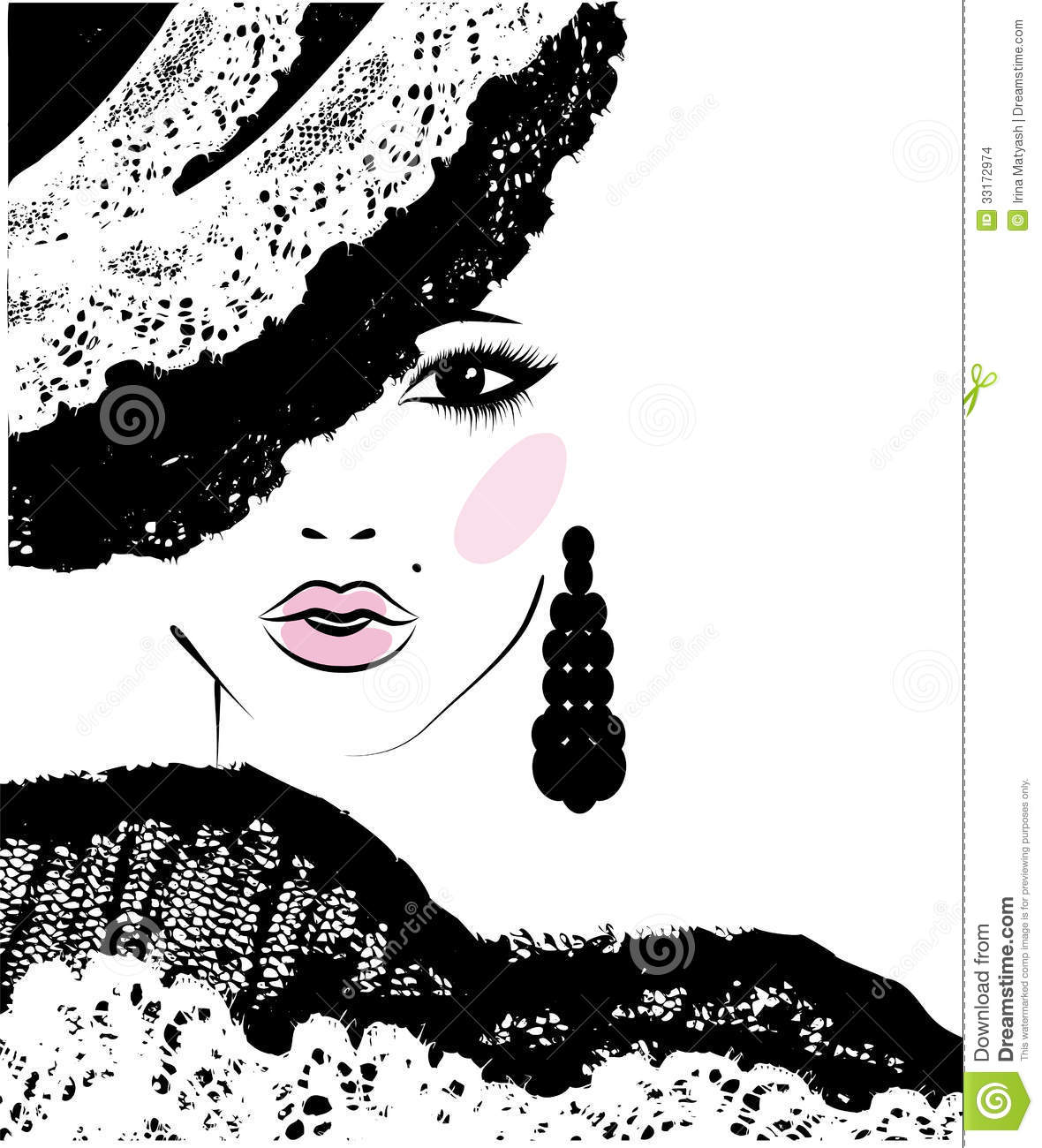 1000 Images About Fashion Illustrations On Pinterest: Girl With In A Lace Hat, Fashion Illustration Stock Vector