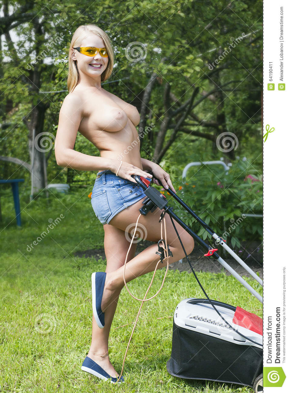 Busty neighbor and lawn boy piece