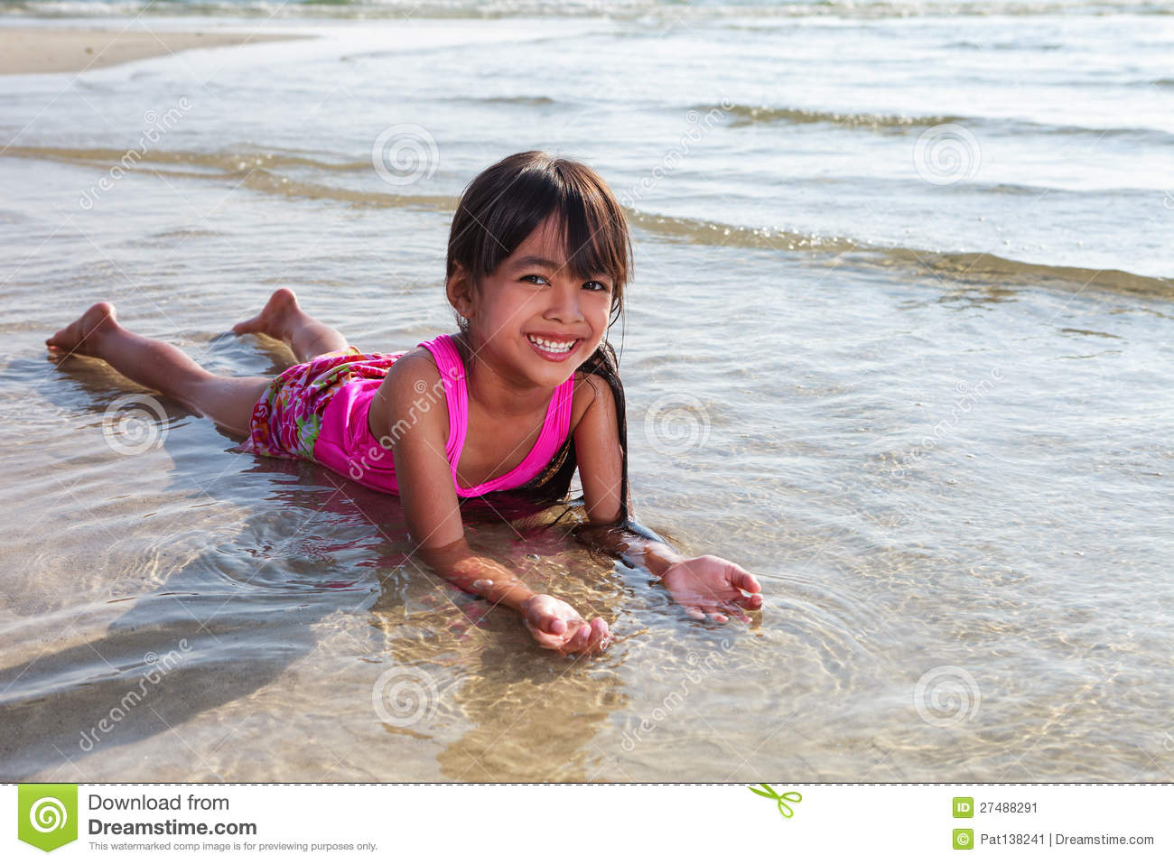 Girl Laying In Water On The Beach Stock Image - Image Of Relax, Midday 27488291-4120