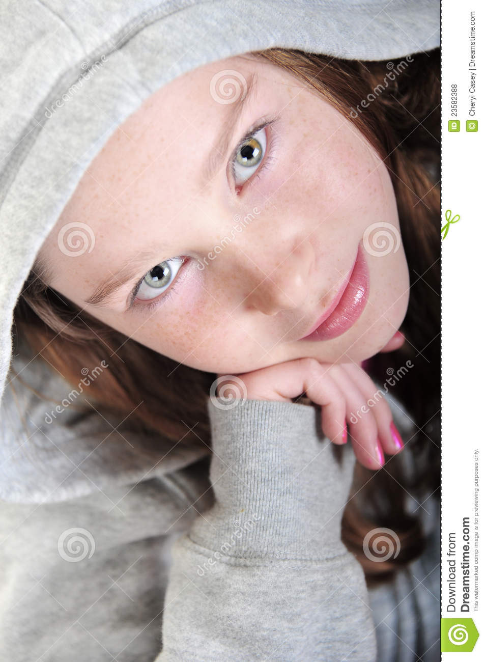 Girl leaning on hand