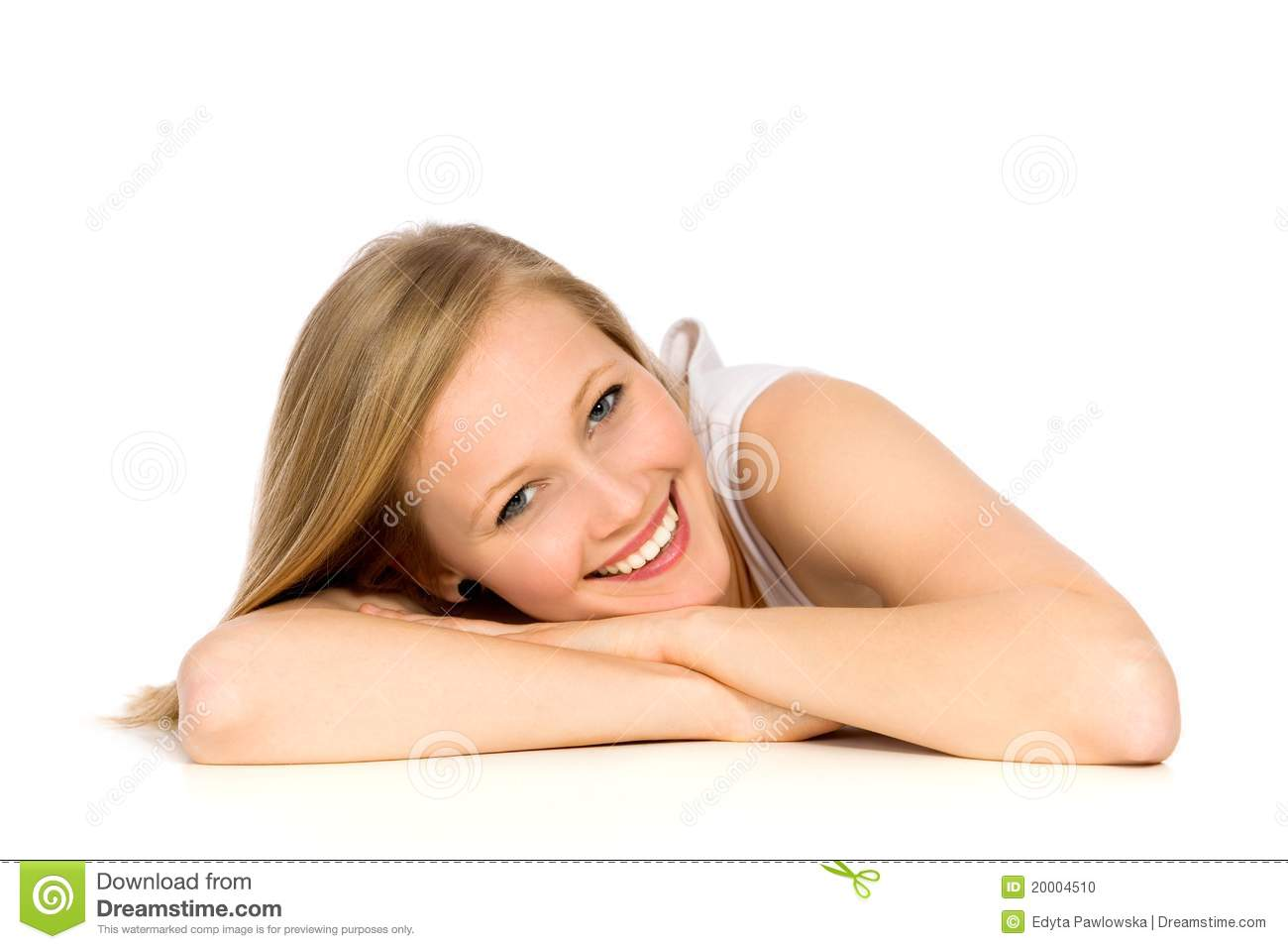 Girl Leaning On Table Stock Photo Image Of Isolated 20004510