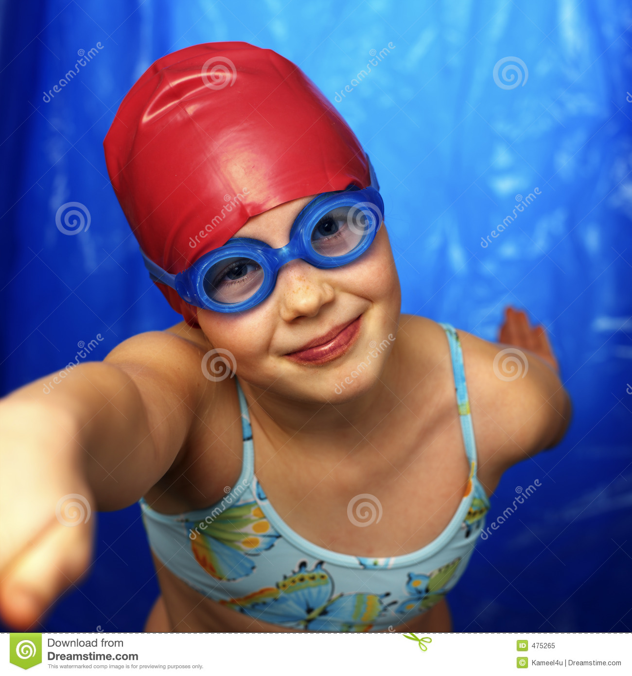 Girl learning how to swim