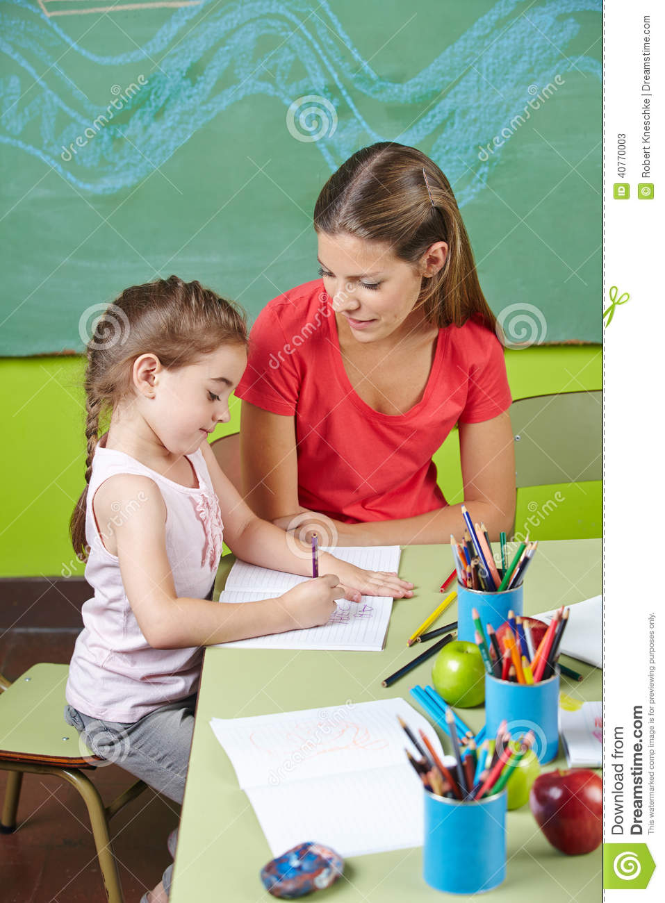 Girl Learning To Write In Preschool Stock Photo Image