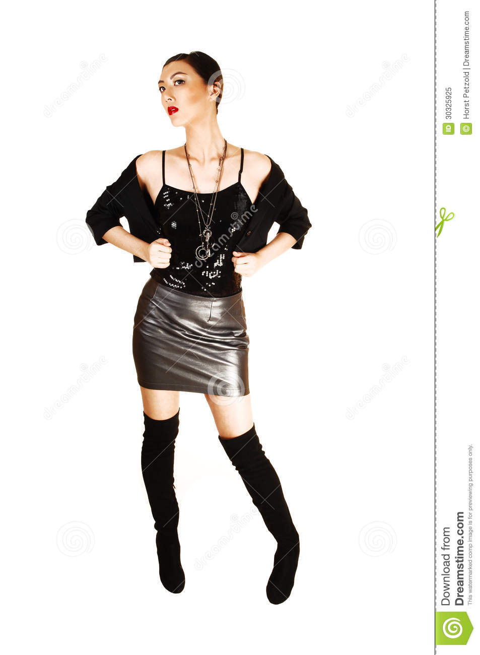 Girl In Leather Skirt Stock Image Image Of Hair, Black - 30325925-3636