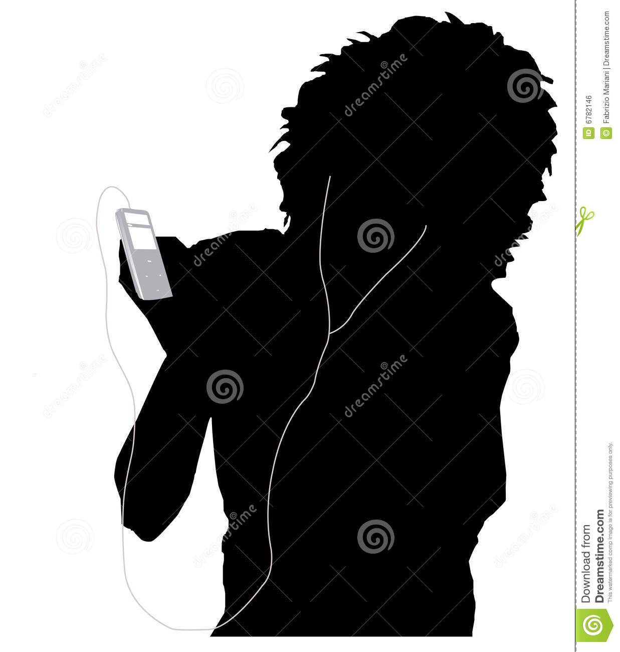 Girl listening music stock vector. Image of black, face ...