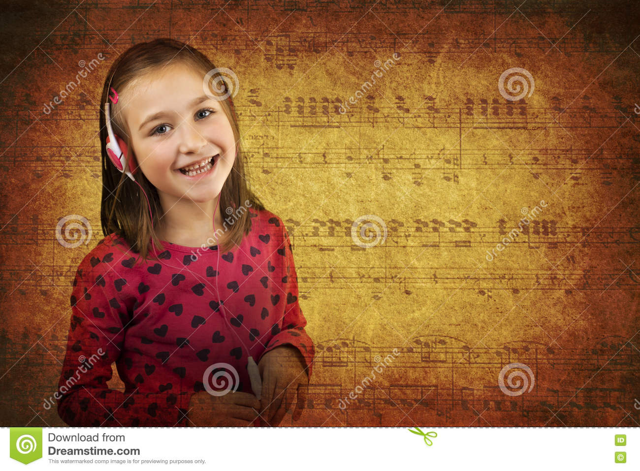 Girl Listening Music Grunge Stock Photo - Image of adorable
