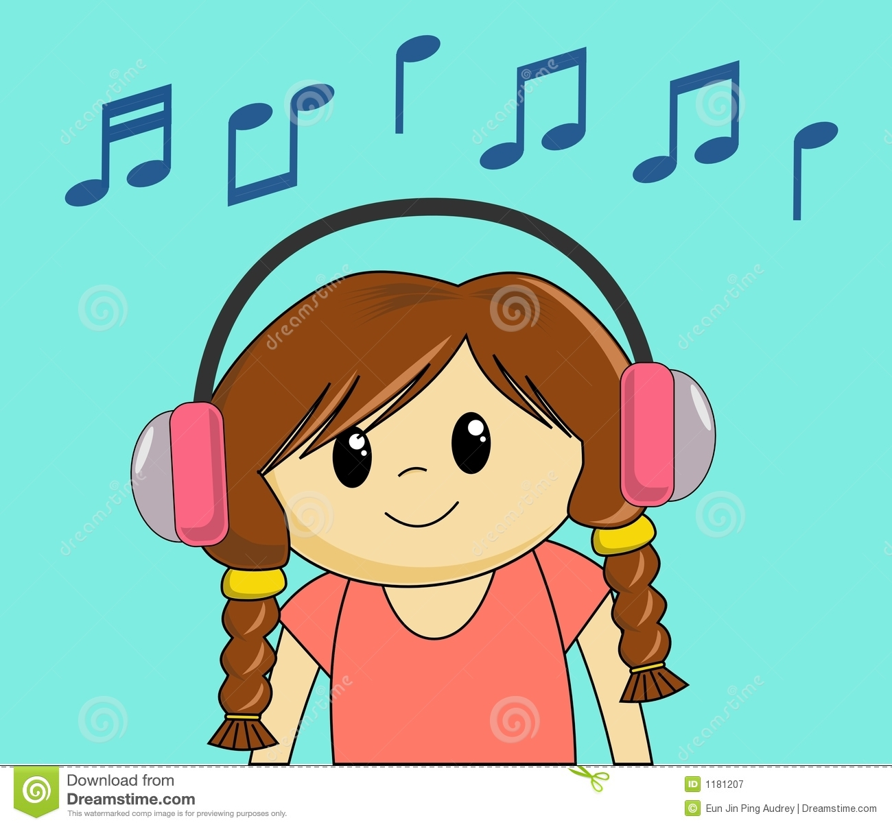 girl listening to music stock vector. illustration of brown - 1181207