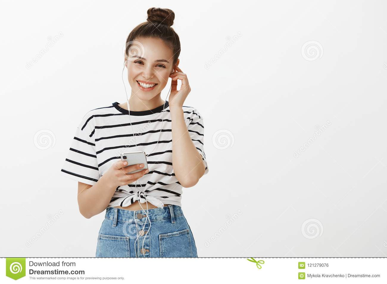 Girl listening voice mail pleased to receive greetings happy good girl listening voice mail pleased to receive greetings happy good looking european female m4hsunfo