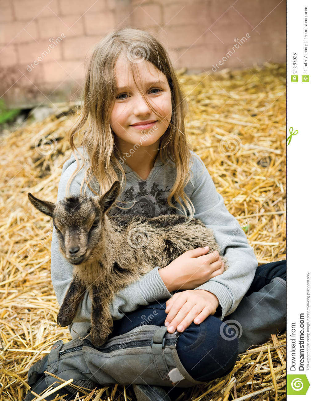 Girl With Little Goat ... Goat Animation