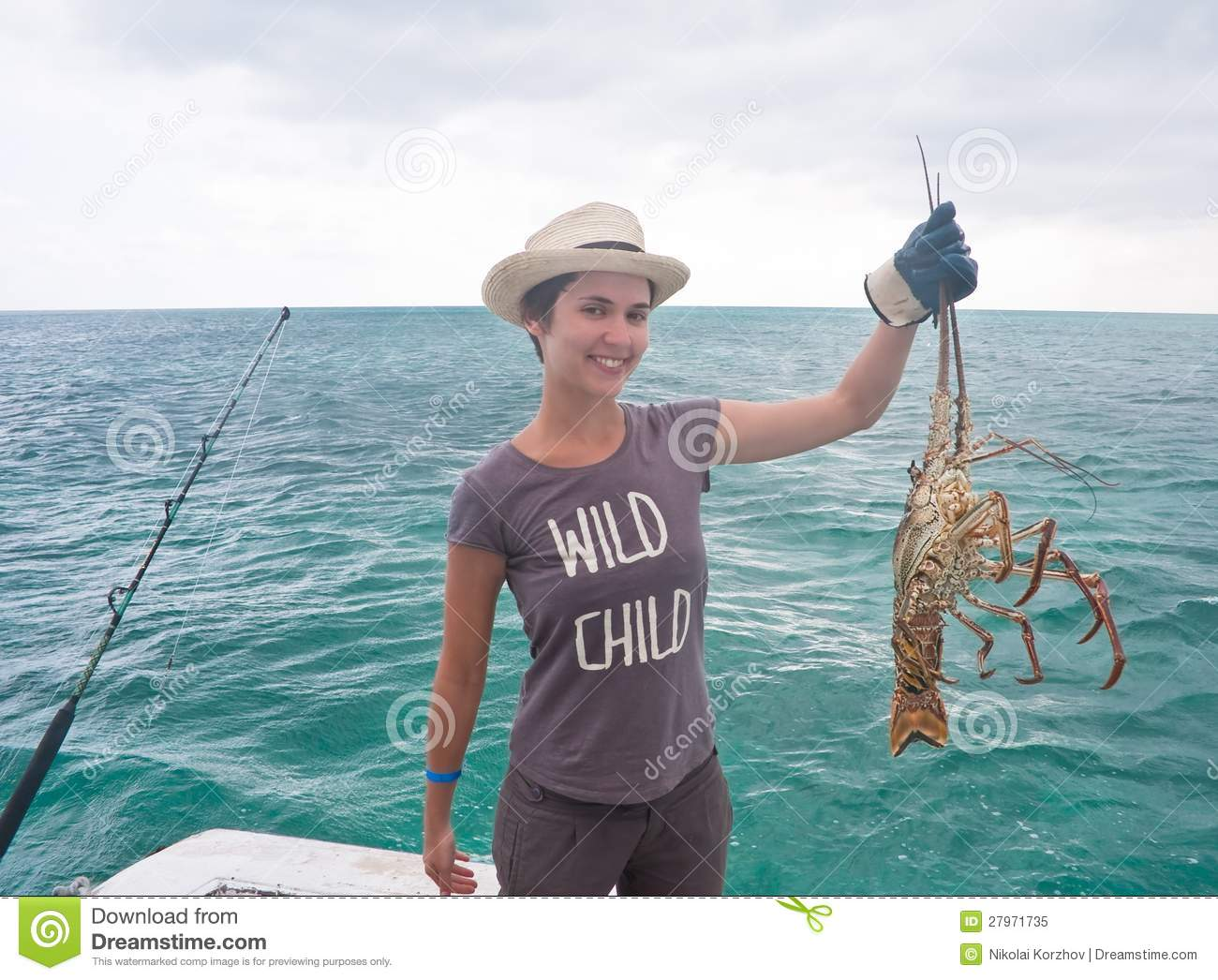 Girl With A Lobster. Cuba Royalty Free Stock Photo - Image: 27971735