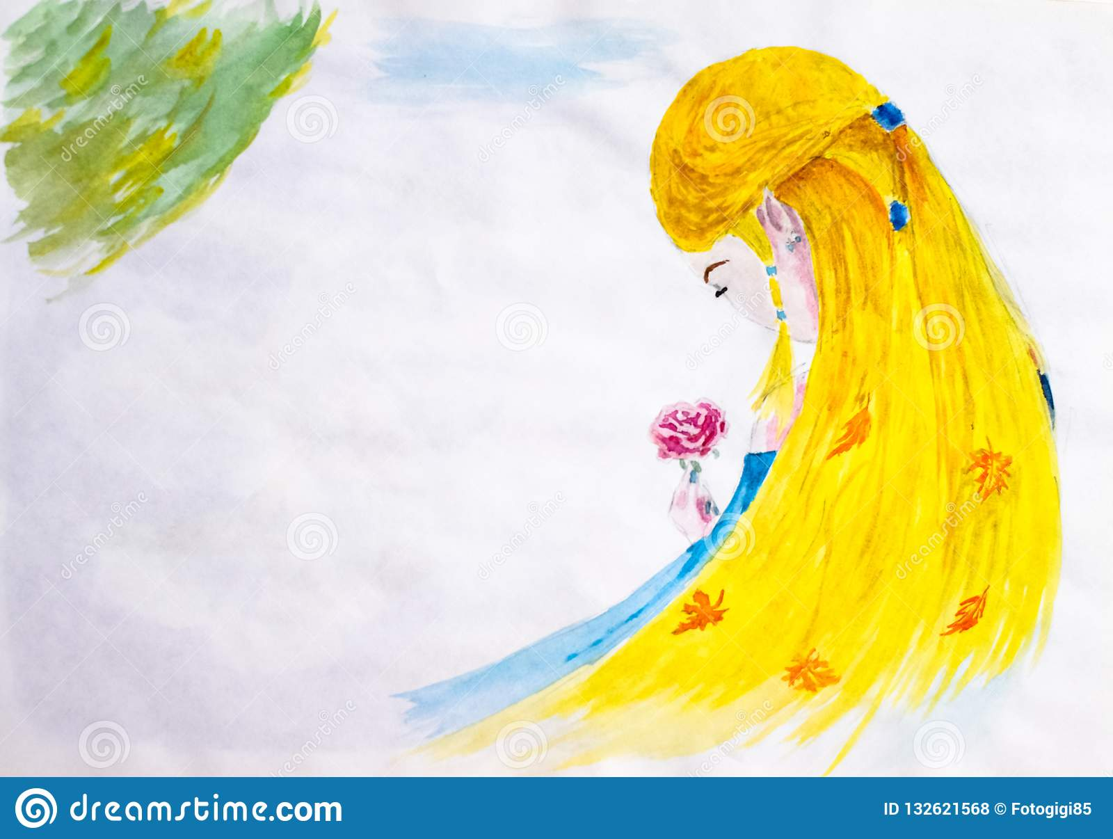 A Girl With Long Blond Hair Admires A Rose Flower Autumn In