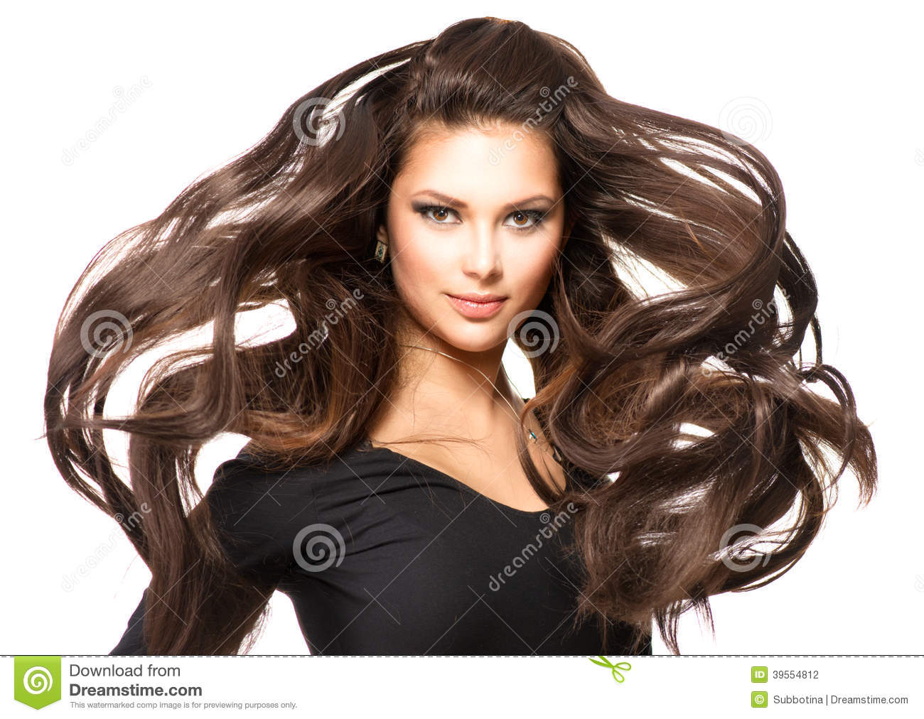 Girl with Long Blowing Hair