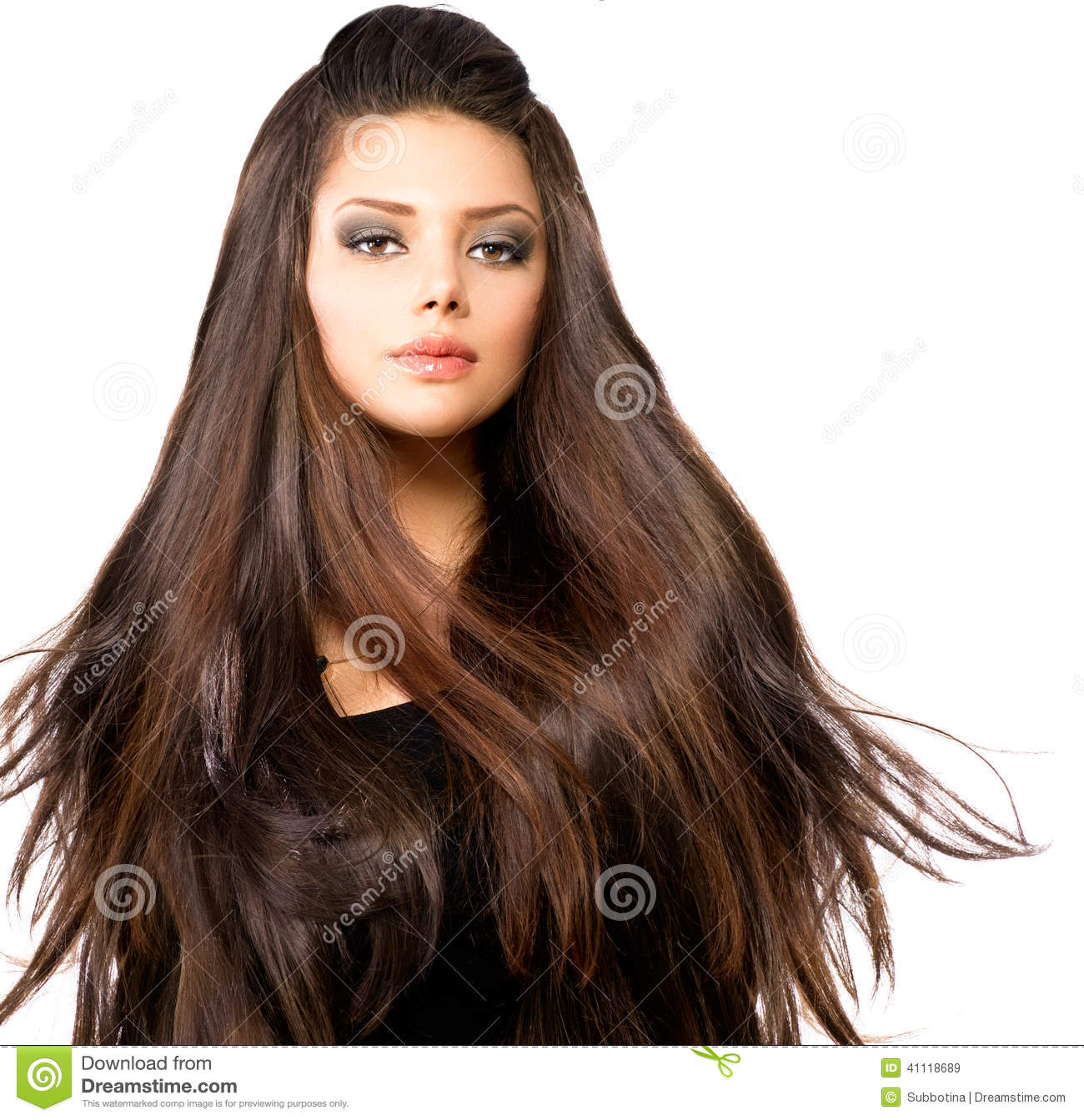 Girl With Long Blowing Hair Stock Photo Image 41118689