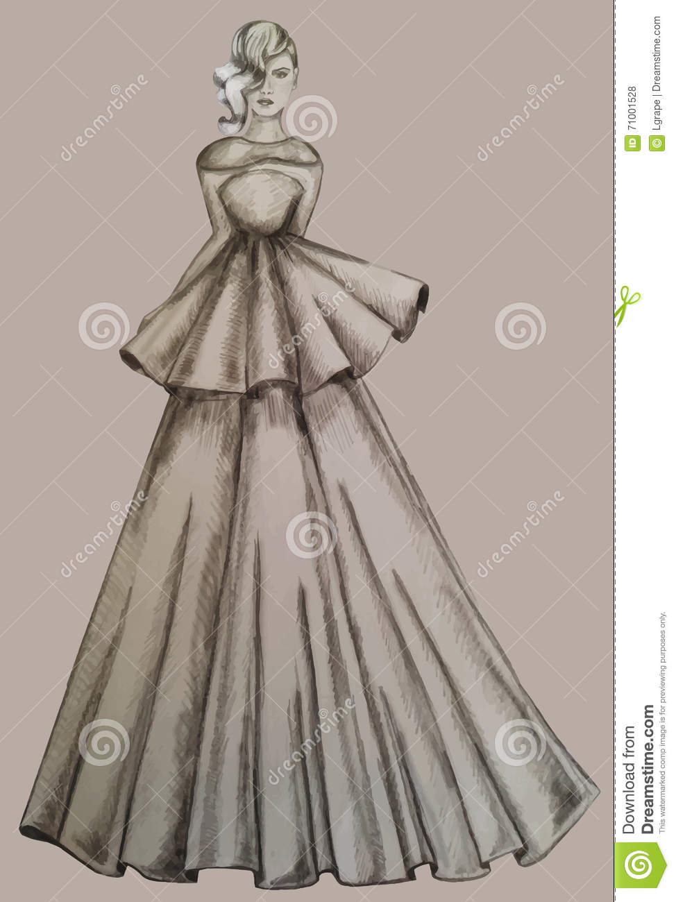 Girl In A Long Dress. Drawing By Hand. Stock Vector ...