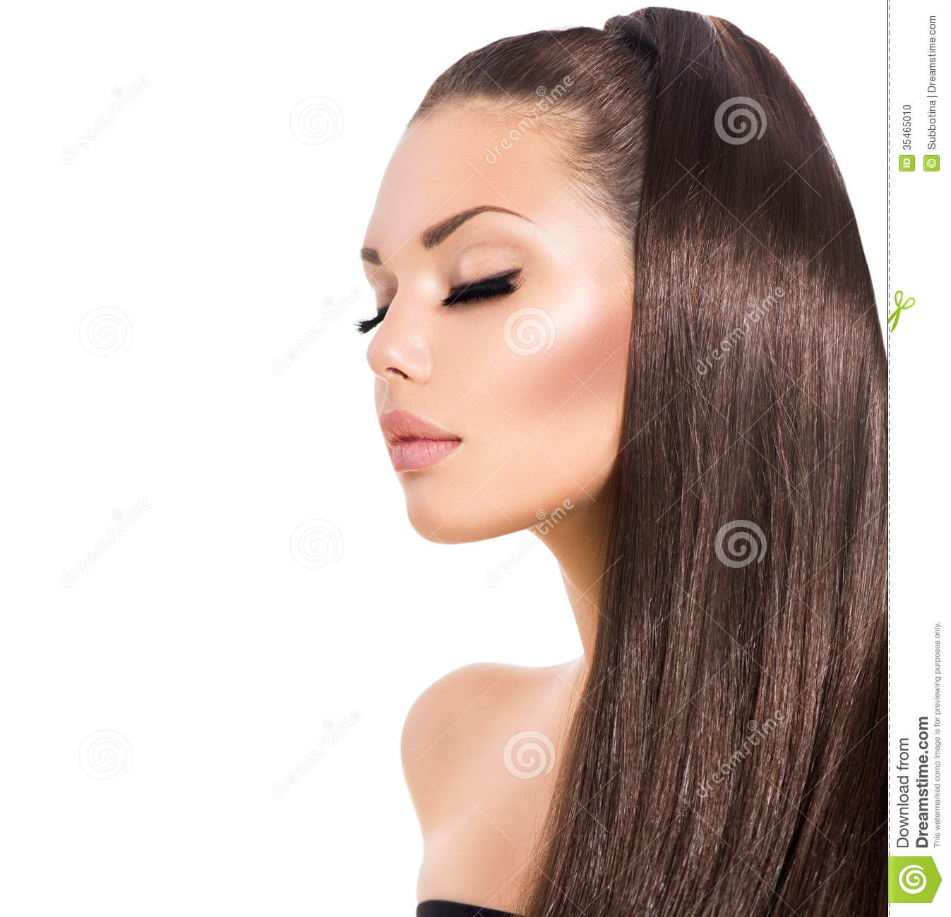 beautiful model with long curly hair stock image - image of clean