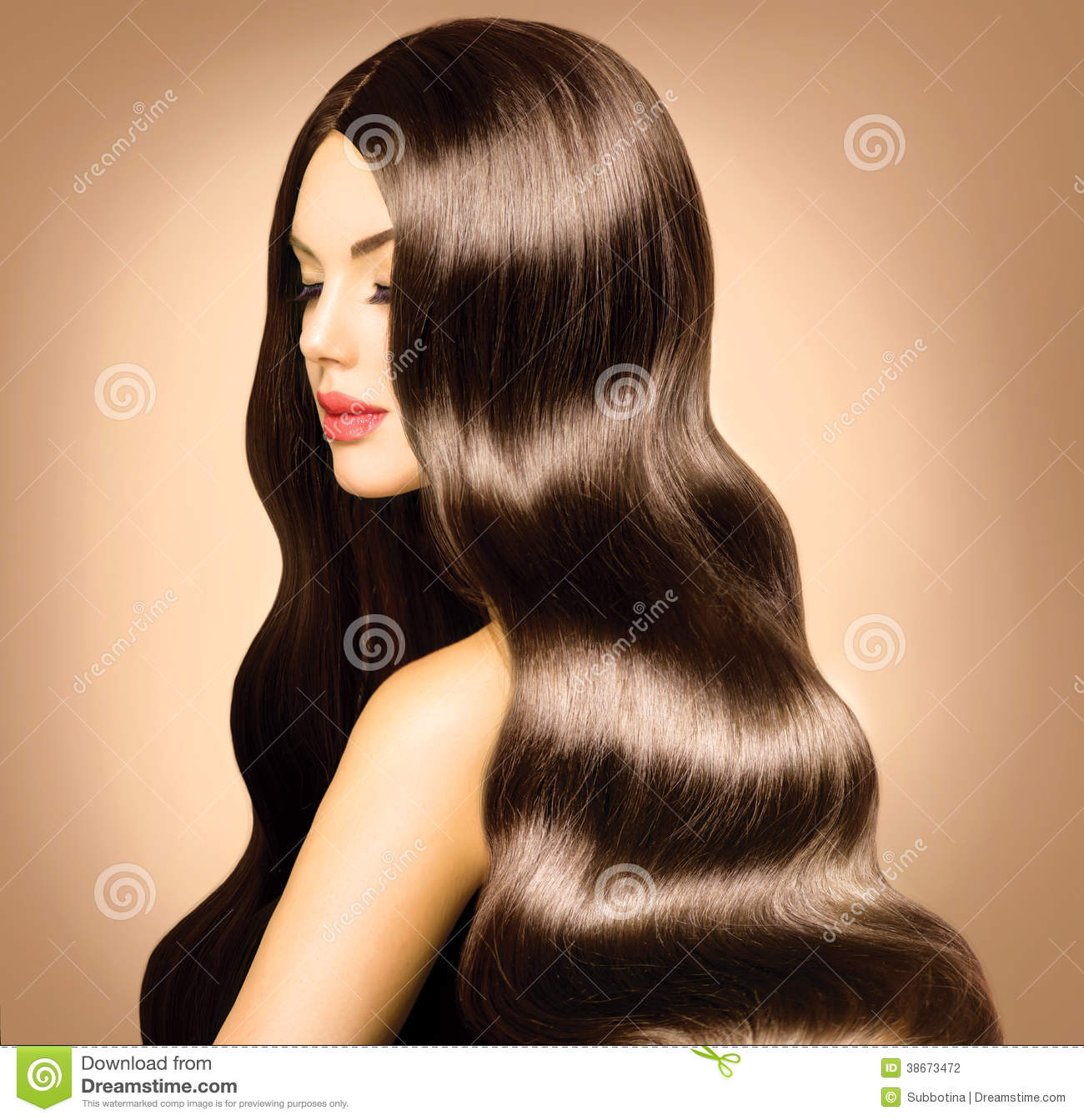 Woman with Long Healthy Wavy Hair.