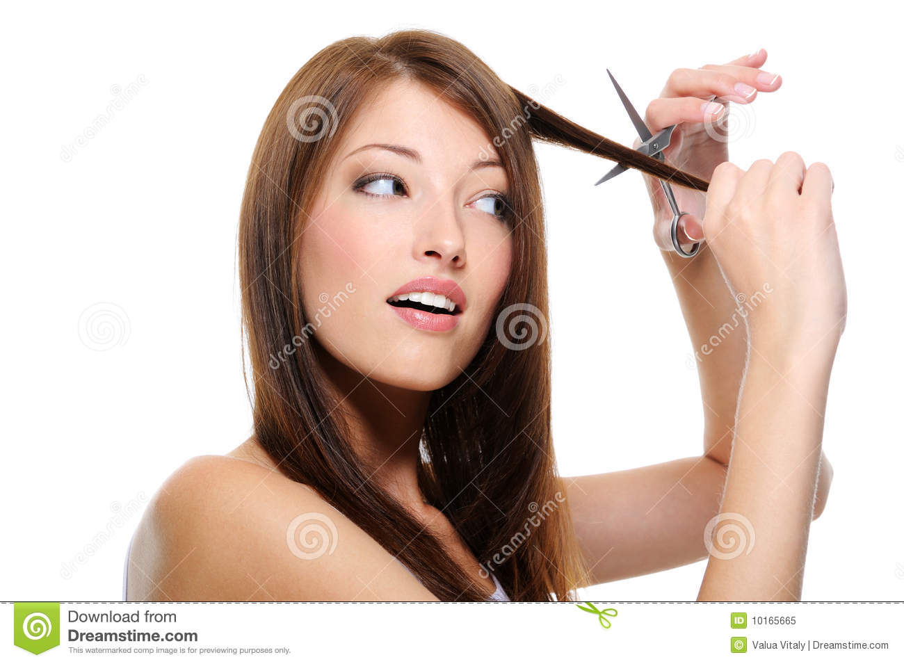 Girl Long Straight Hair Cutting Them With Scissor Stock Image