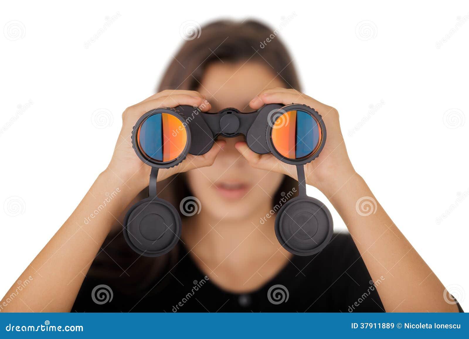 Girl Looking Through Binoculars Stock Image