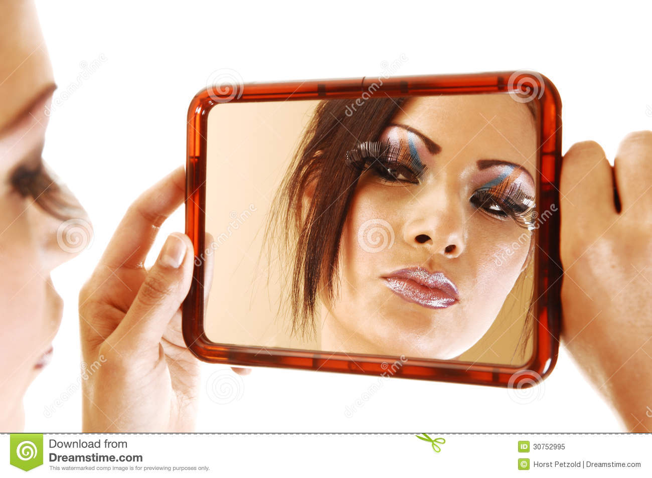 Girl Looking In Mirror Royalty Free Stock Photo Image