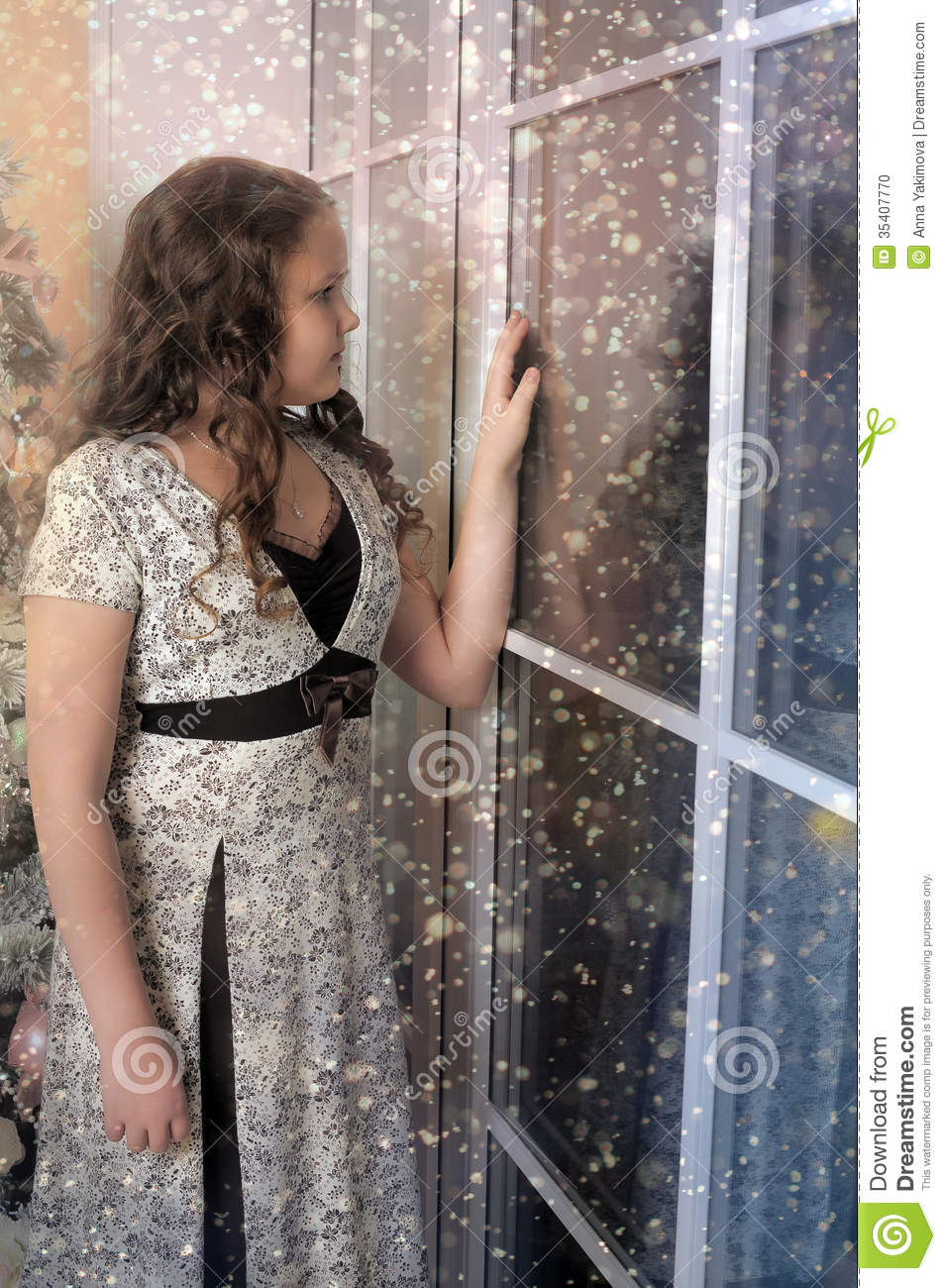 Girl Looking Out The Window Stock Photo - Image 35407770-7435