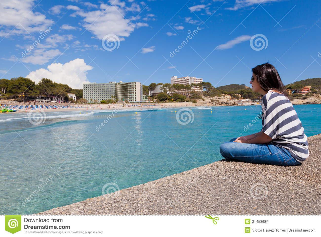Paguera Spain  city images : Girl Looking at Paguera Beach, Mallorca, Spain.