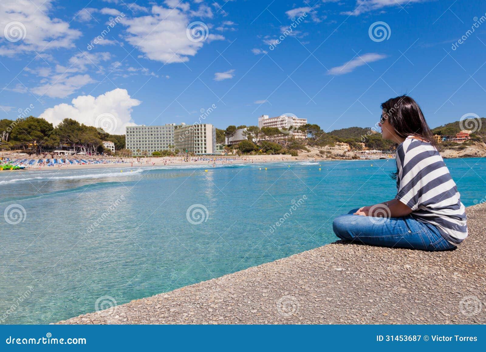 Girl Looking at Paguera Beach, Mallorca