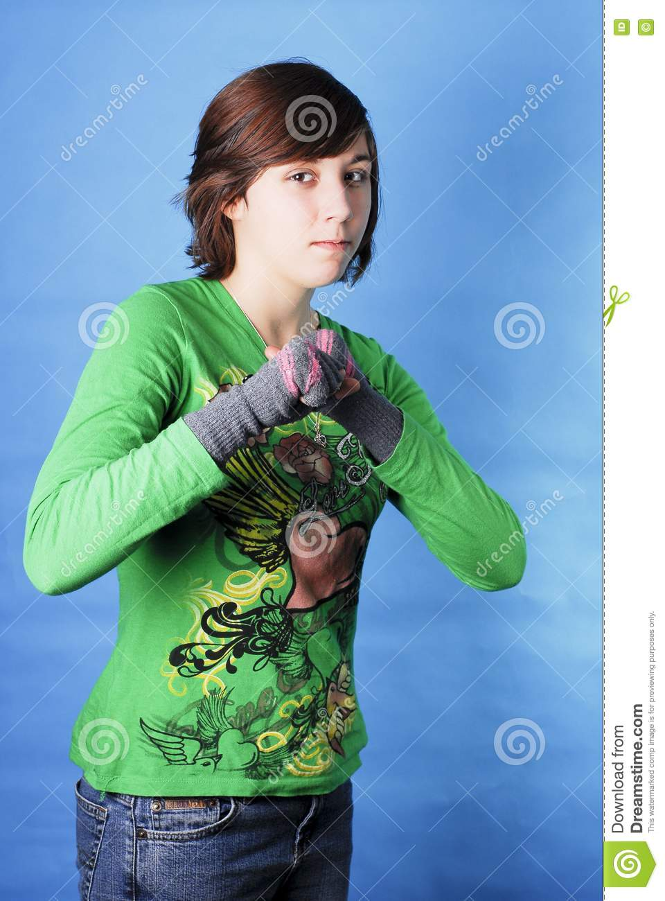 15 Year Boys Bedroom: Girl Looking Tough Royalty Free Stock Image