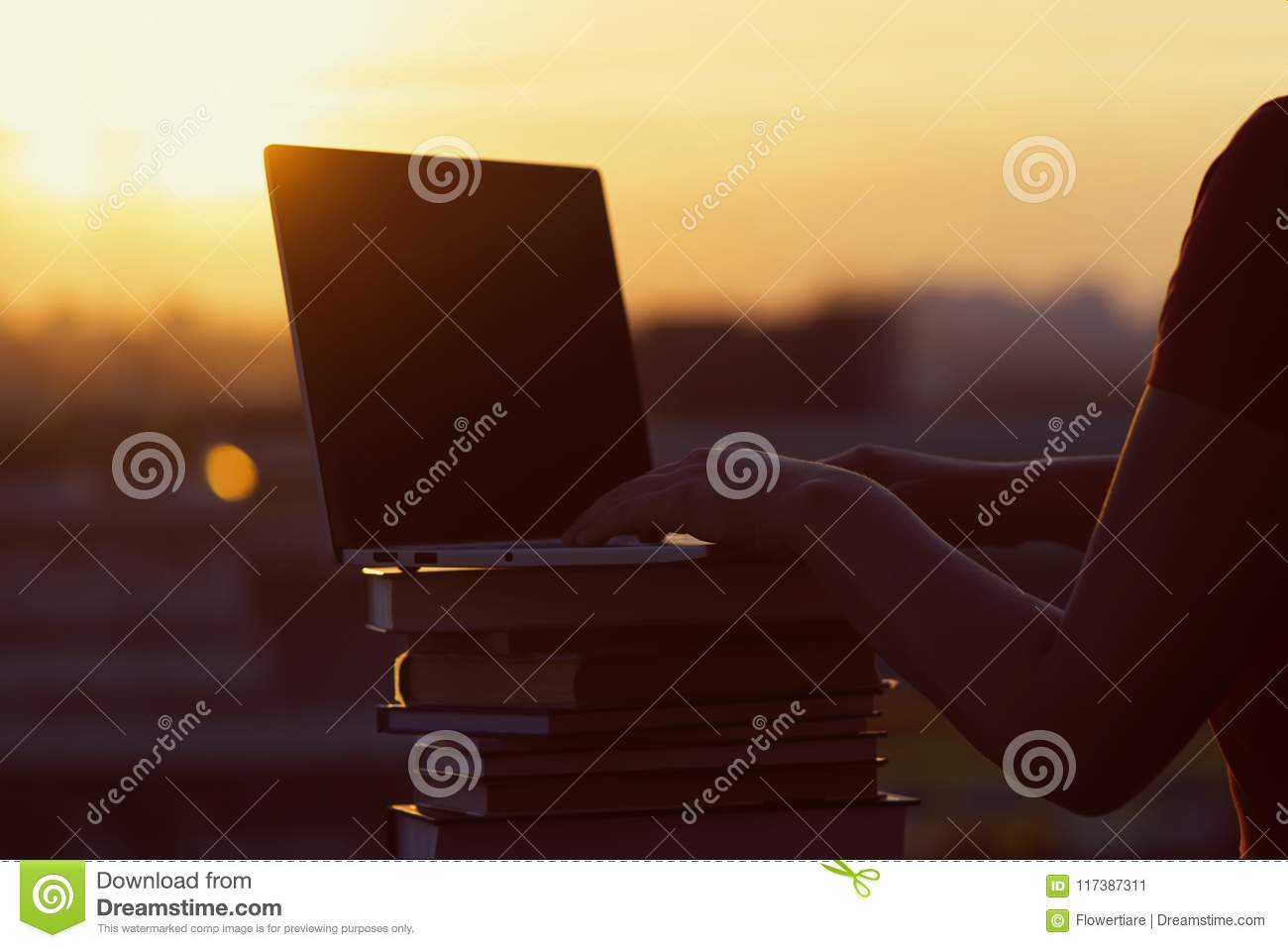 Girl with a lot of books and laptop on sunset background. Preparation for university exams. education concept