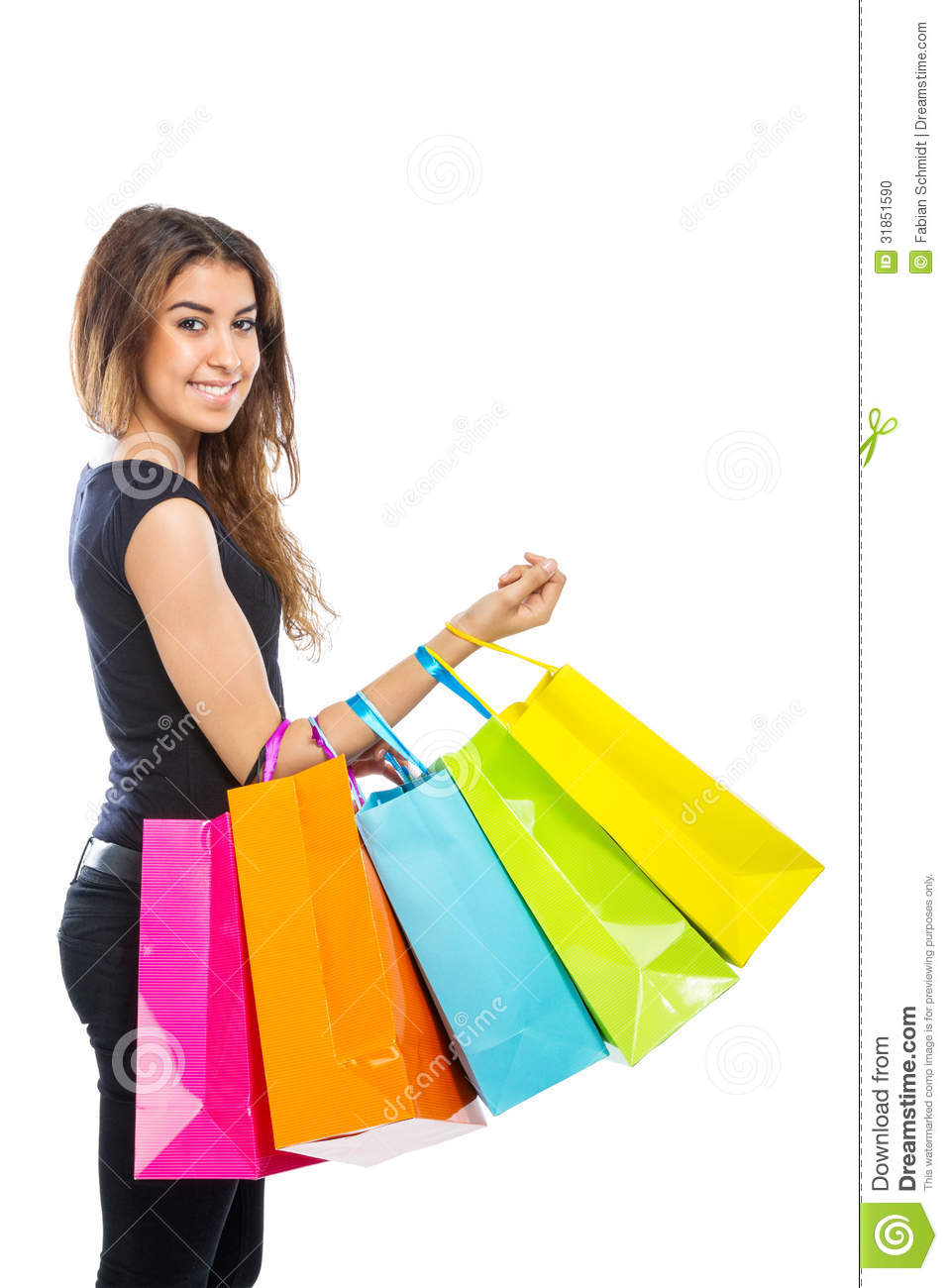 Girl With A Lot Of Shopping Bags Stock Photo - Image: 31851590