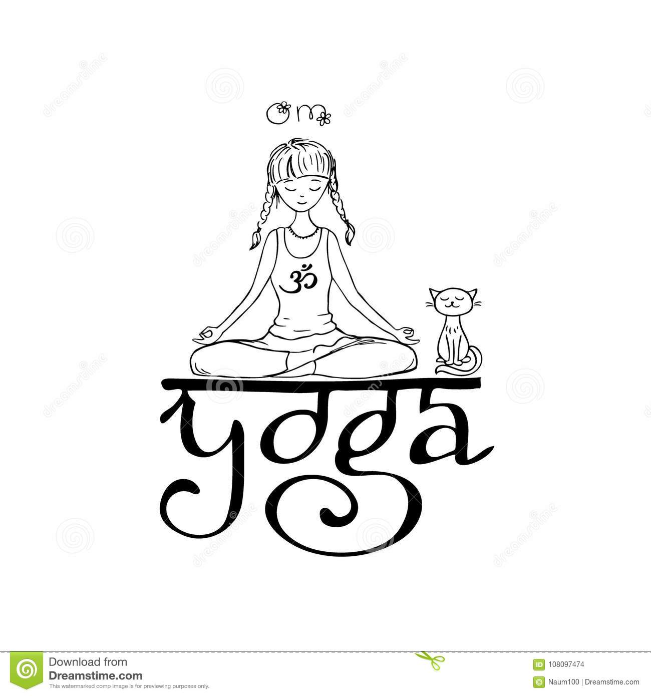Girl In Lotus Yoga Pose Doodle Hand Drawn Vector Illustration Stock Vector Illustration Of Pink Aerobic 108097474