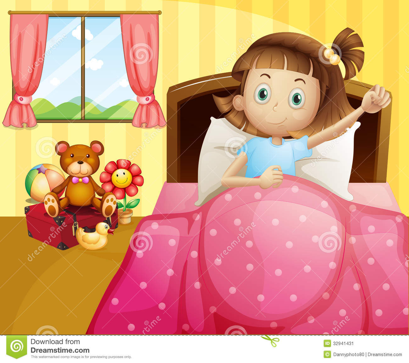 A Girl Lying In Her Bed With A Pink Blanket Stock Image