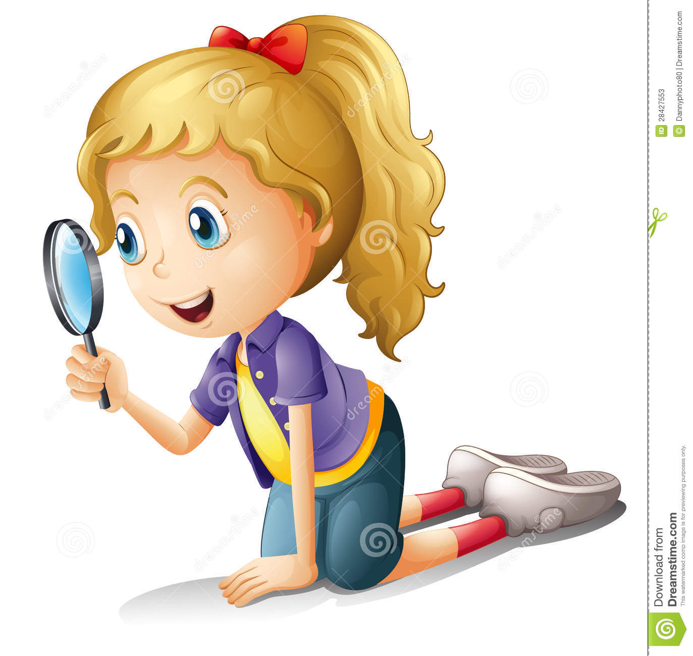 A girl and a magnifier