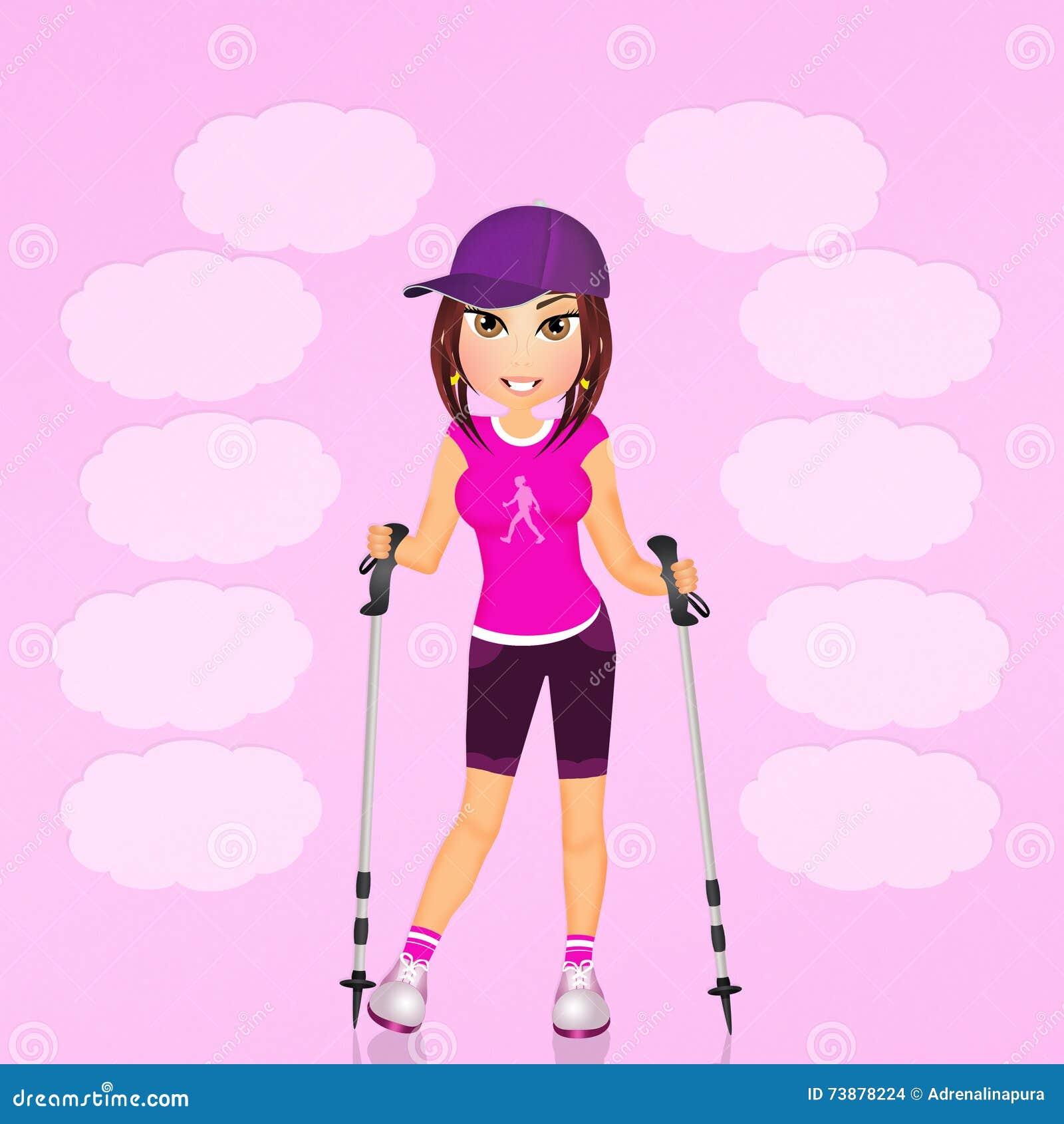 Girl Make Nordic Walking Stock Illustration Illustration Of Walking