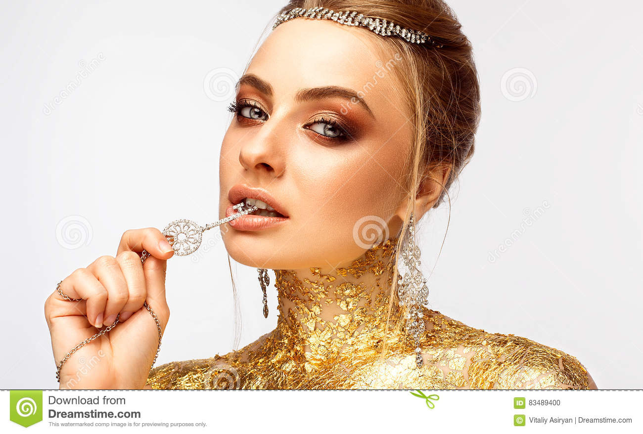 Gold Jewelry Fashion Lips Make Up Amp Diamond Ring Stock