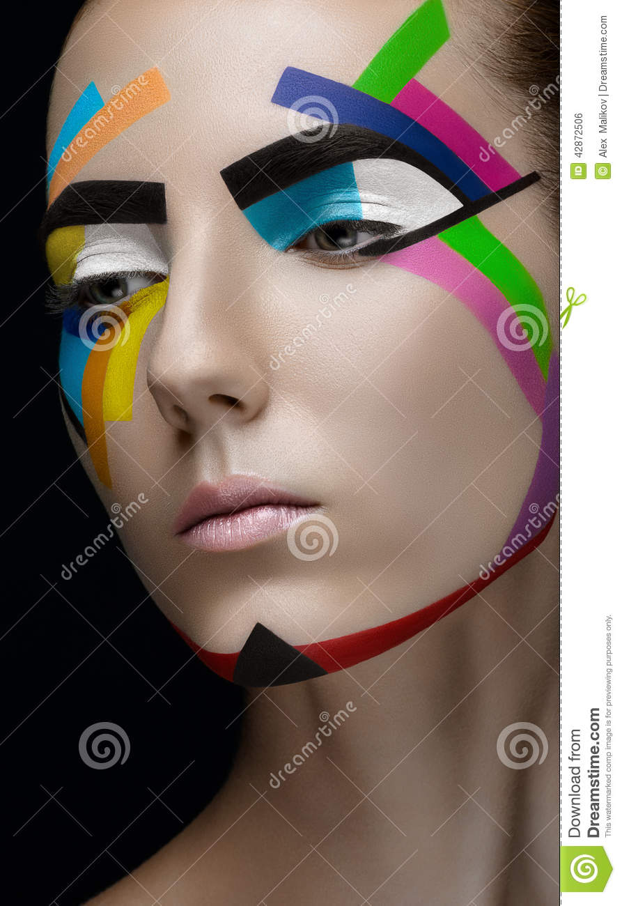 Girl makeup colored lines