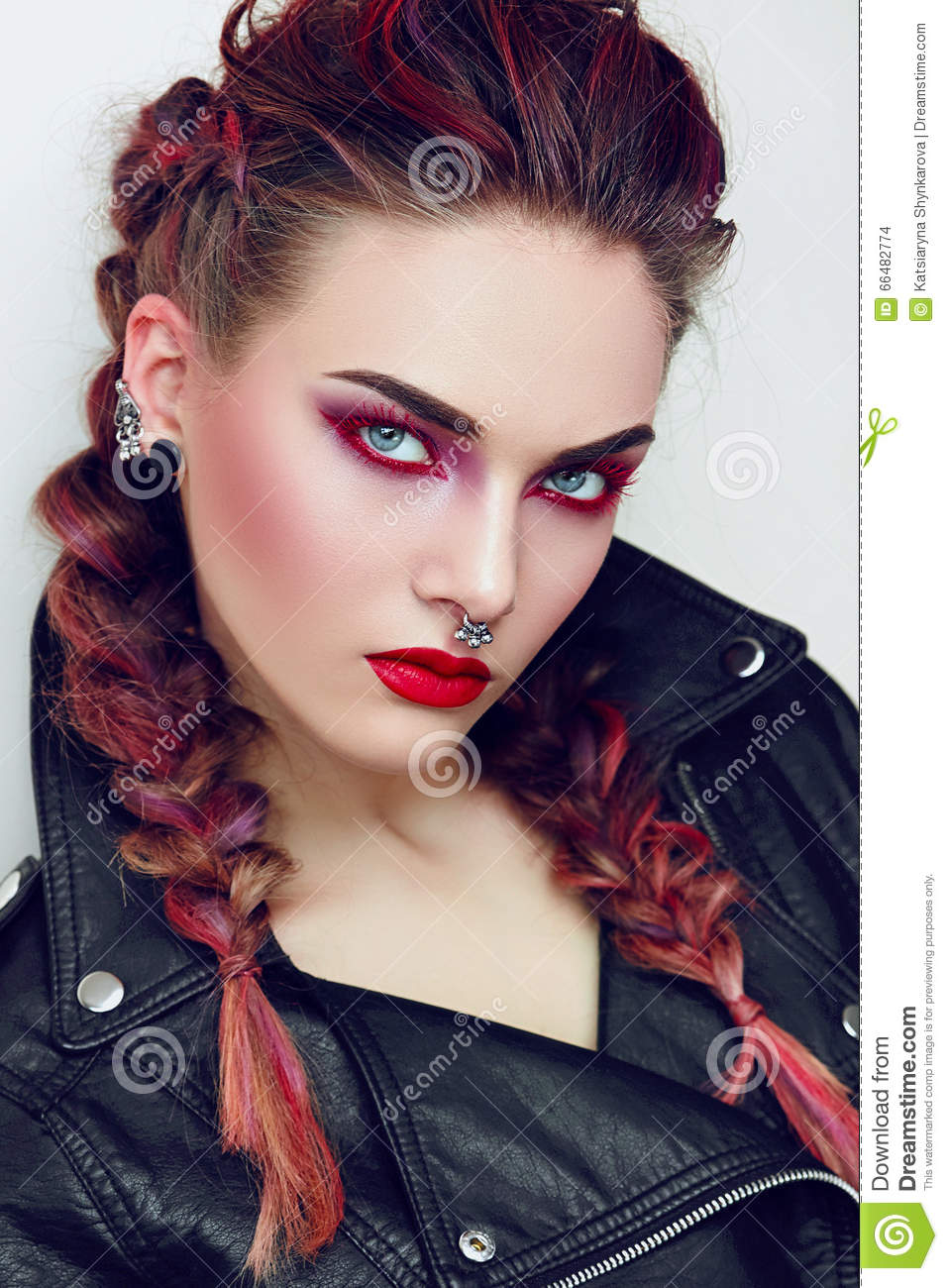 girl with makeup in a rock style stock photo image of