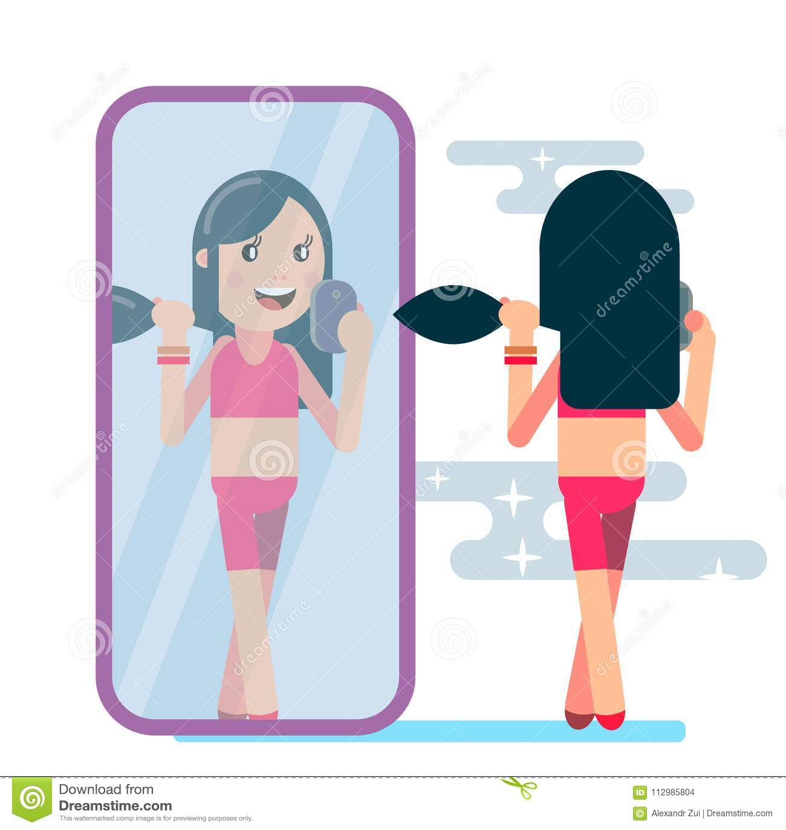 Girl is making selfie