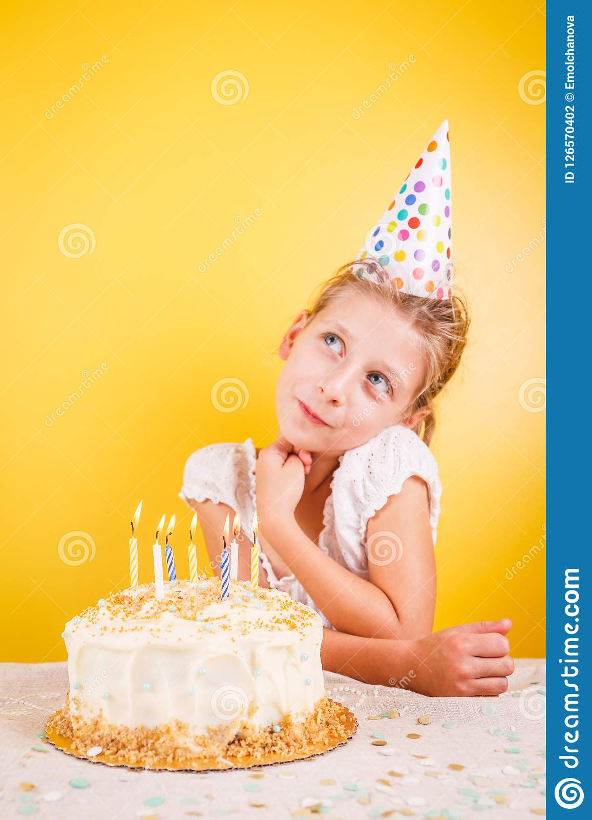 Girl Making A Wish By Birthday Cake Party Celebration