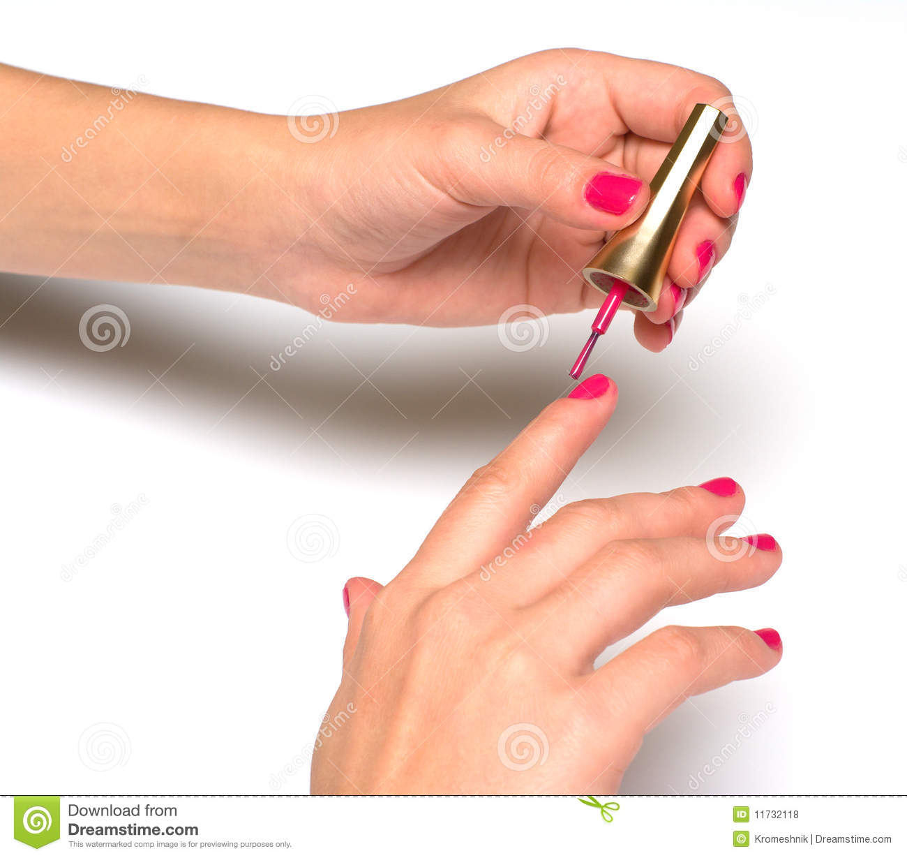 A girl manicures.