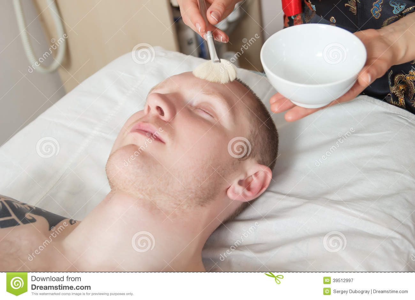 Girl masseuse doing massage