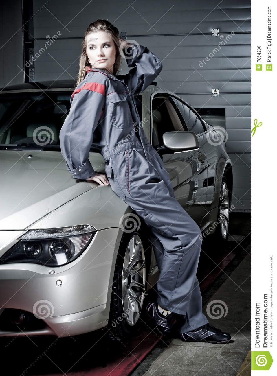 garage lean to ideas - Girl in mechanic uniform stock photo Image of pose work