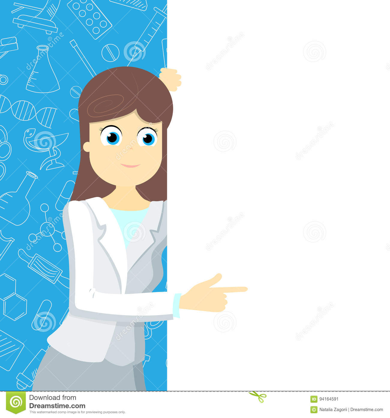 Girl in medical clothing points to a blank banner on a blue background with icons on a theme medicine