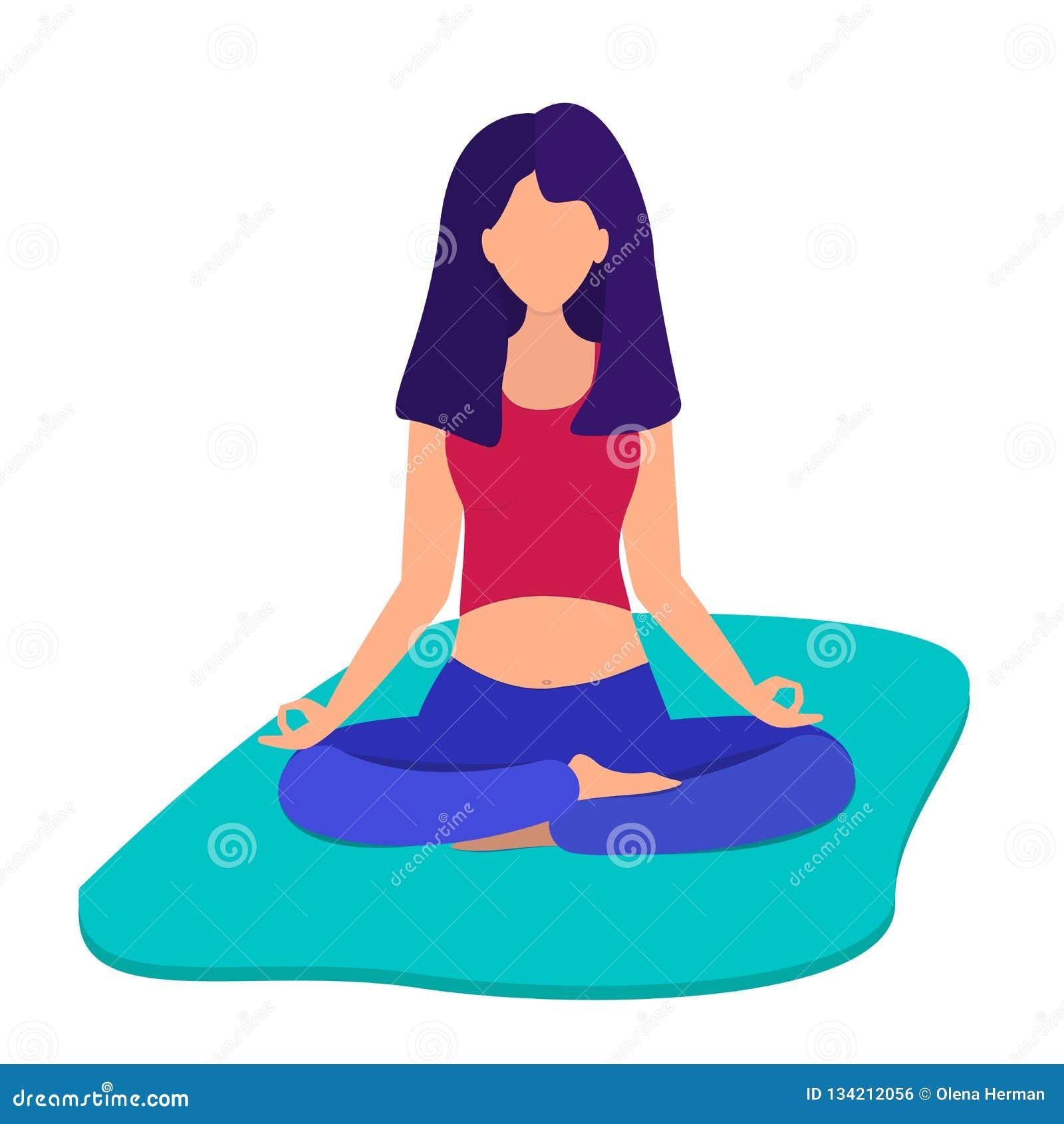 The girl meditates. Girl is doing yoga