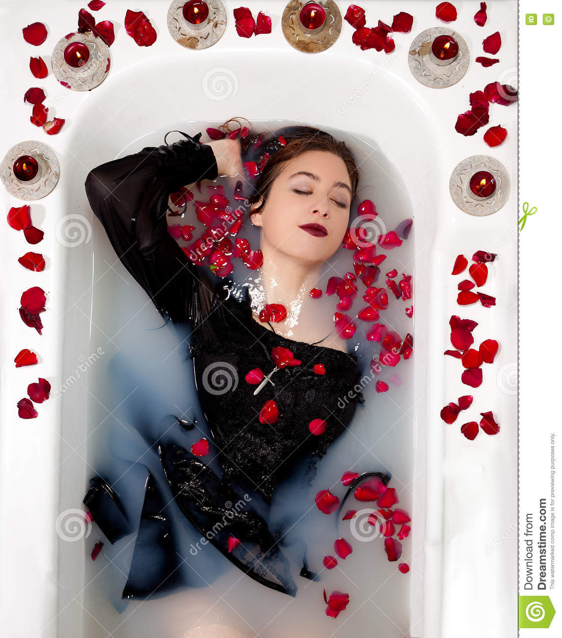 88c659bf286 Girl Milk Water Bath Red Roses Candles Stock Image - Image of gothic ...